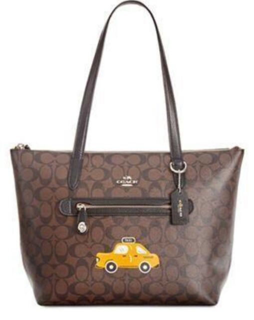 coach NY stories Taxi Taylor Signature Brown PVC Shoulder Tote Bag 31205 51482aaa52