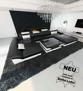 Luxus Ledercouch Xxl Designer Wohnlandschaft Ottomane Monza U Led