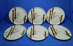 6-Mid-Century-Modern-American-Heritage-9-5-034-Dinner-Plate-Bamboo-Hand-Painted-Set