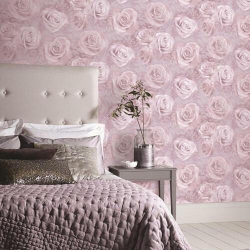 623302 /& Argent 623303 Arthouse REVERIE Papier Peint en Rose Poudré