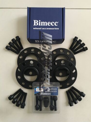 2x15mm 2x20mm Negro Aleación Separadores De Rueda Cerraduras Pernos Negro Bmw E90 E91 E92 E93