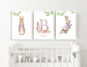 Image Is Loading Peter Rabbit Nursery Pictures Personalised Gifts Christening Baby