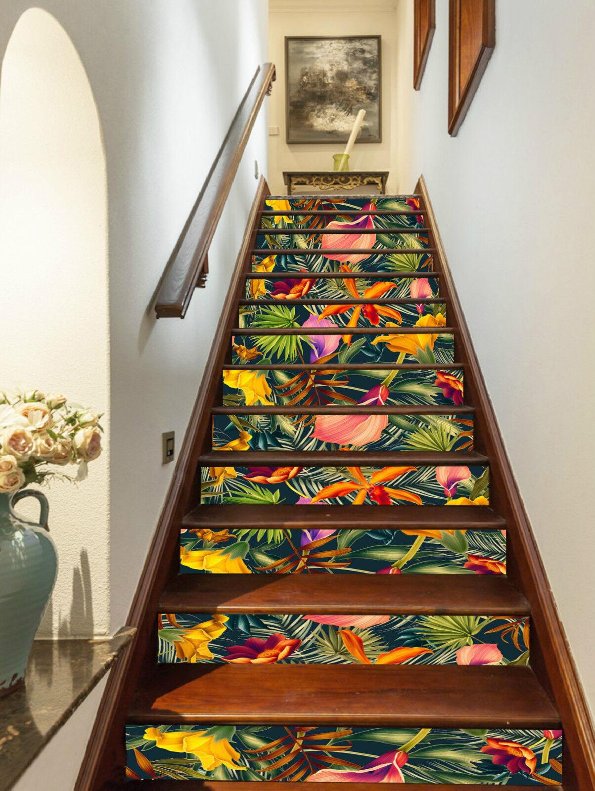 3D Blaumen Laub 305 Stair Risers Dekoration Fototapete Vinyl Aufkleber Tapete DE