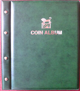 VST-COIN-ALBUM-GREEN-COLOUR-with-12-Various-Size-PAGES-Holds-568-Coins