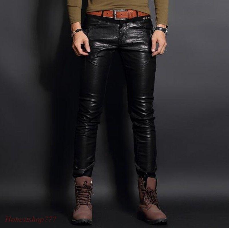 Mens Trendy Punk Slim Fit Faux Leather Pants Motorcycle Biker Shinny Trousers Sz