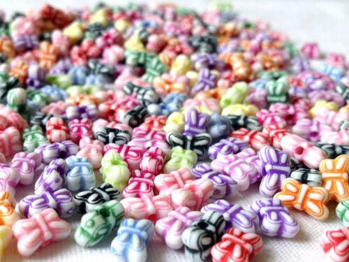 250 Mezclados Pastel Color Arco encanto granos fabricación de joyas Artesanías 9mm CHP0009