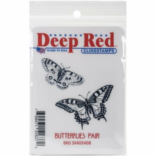 Deep Red Stamps Butterflies Pair Rubber Cling Stamp