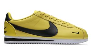 7690c5f227d04 Image is loading Nike-Classic-Cortez-PREMIUM-LEATHER-BLACK-BRIGHT-CITRON-