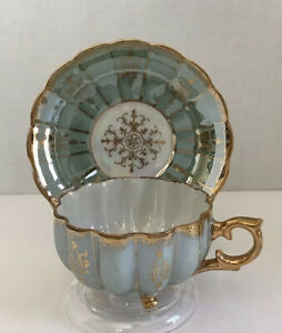 Vintage-Royal-Sealy-China-Japan-Tri-Footed-Tea-Cup-amp-Saucer-Set-Lustre-Finish