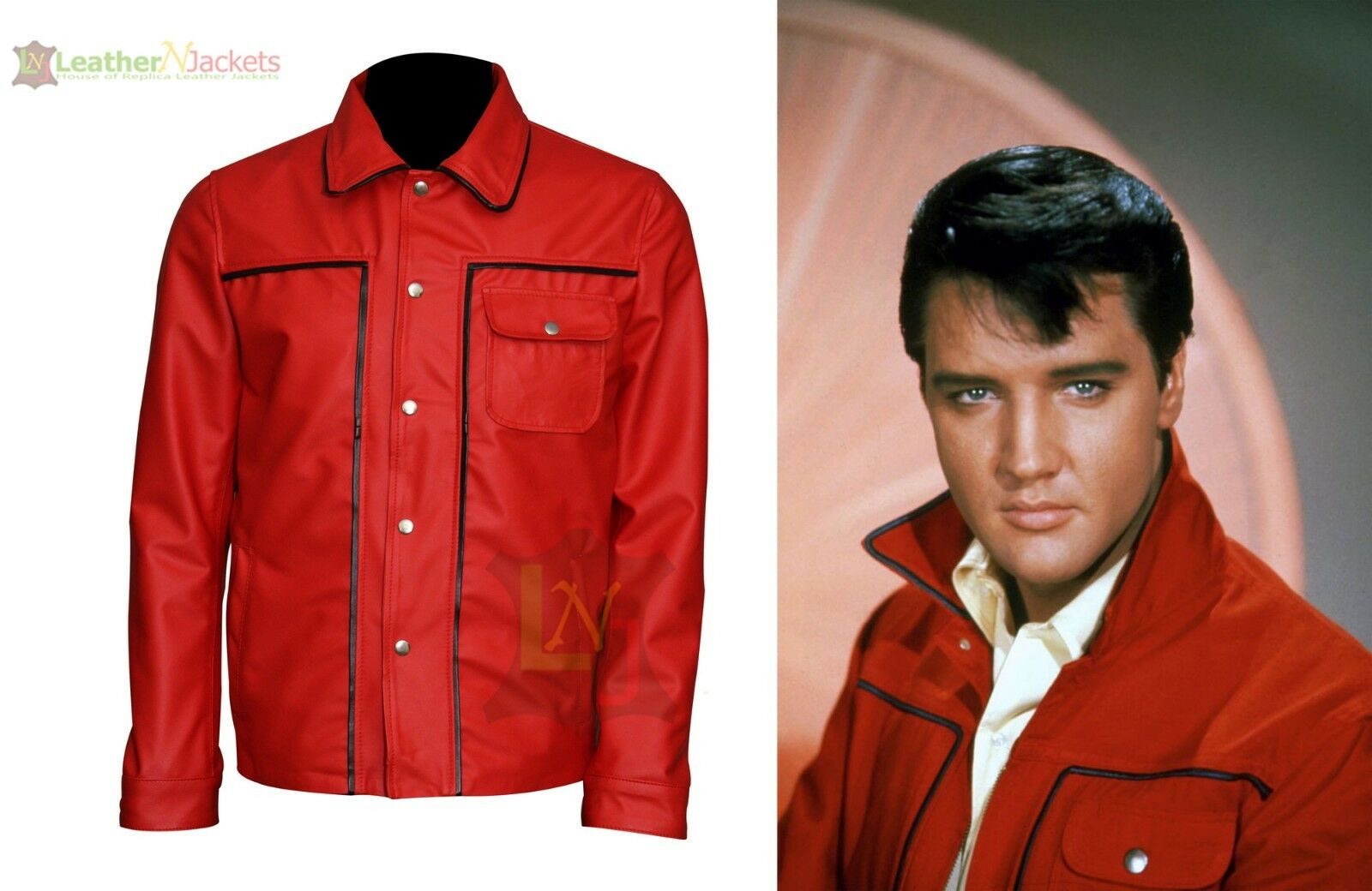 Elvis Presley Celebrity King Of Rock  rot Leather Jacket