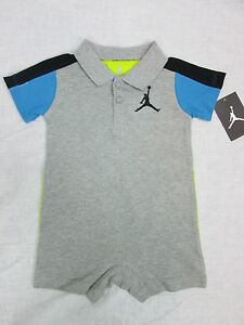 NWT-Nike-Infant-Boys-Air-Jordan-One-Piece-Polo-Romper-Grey-Black-6-9M-12M-18M
