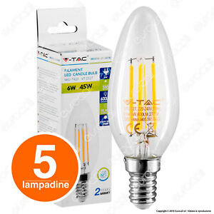 5-LAMPADINE-LED-V-TAC-E14-Candela-6W-Filament-Luce-Bianca-2700K-4000K-6400K-Vtac