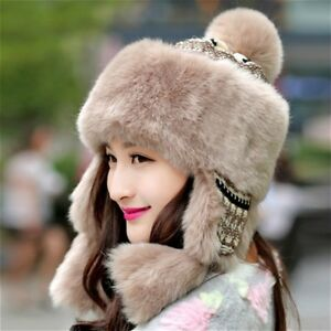 Women Ladies Faux Fur Hat Cap Knitted Beanie Pom Pom Cossack Russian ... 59428d196b5
