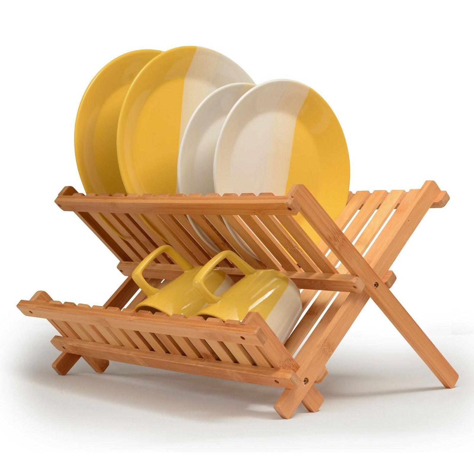Bamboo Wood Dish Drainer Dinner Plates Rack Stand Cutlery Utensil Holder Dryer
