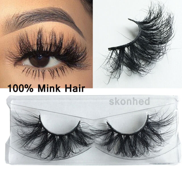 SKONHED 1 Pair 100% 3D Mink Hair False Cross Wispy Fluffy Long Eyelashes.