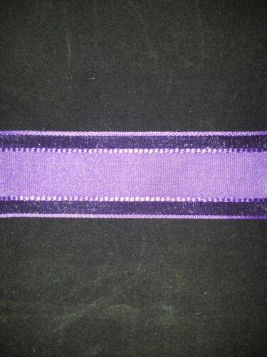 Cinta de borde de alambre púrpura Organza Satén Raya 38mm Nueva Alta Calidad
