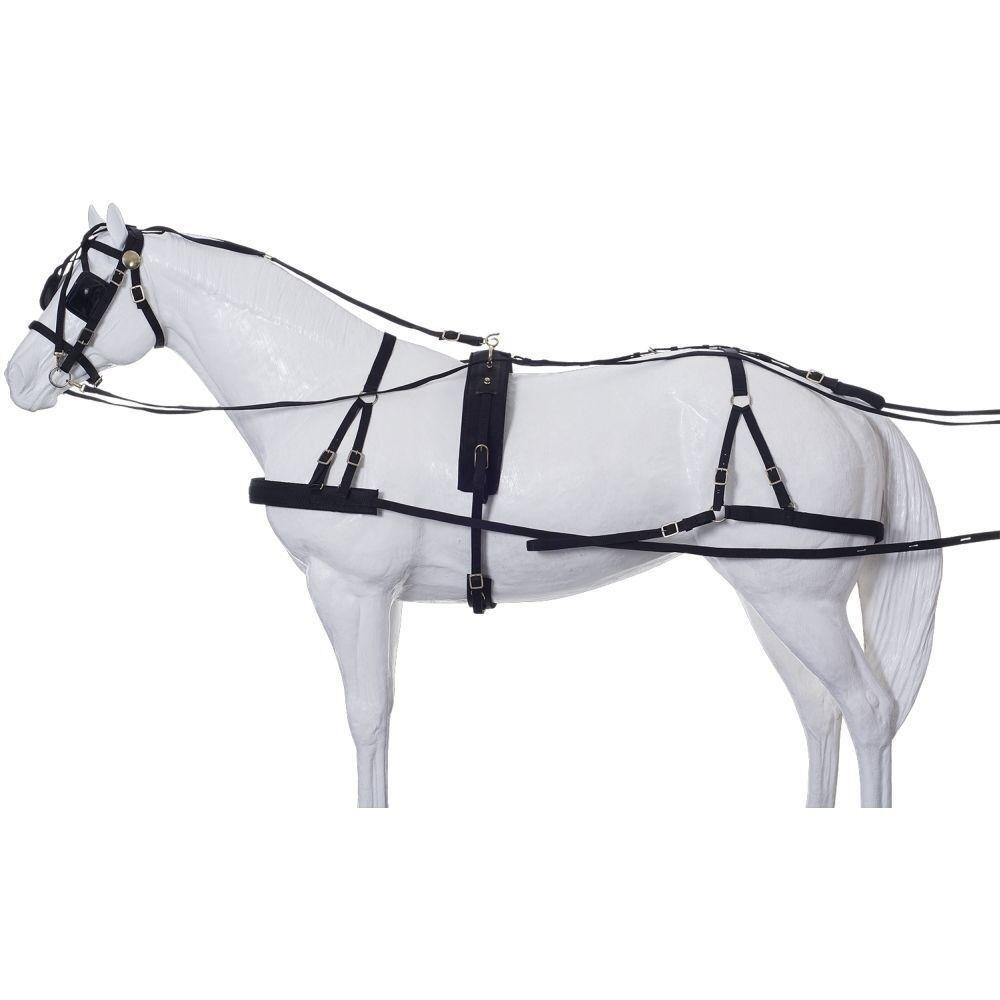 Tough - 1 Arnés de conducción hercúlea Nylon Negro Tamaño de caballo de derivación en Y Estilo