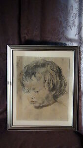 PETER-PAUL-RUBENS-CHARCOAL-PRINT-ON-CANVAS-034-BOY-039-S-HEAD-034-framed