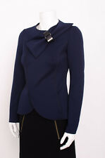 EMPORIO ARMANI Navy Blue Double Breasted Bow Buckle Asymmetrical Jacket Blazer 2