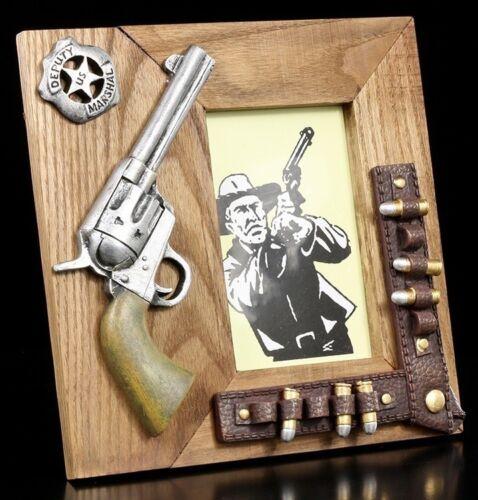 Western bois cadre photo-Colt-cowboy pistolet revolver cartouches