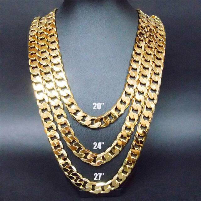 """24""""27""""30"""" 12MM 24K Yellow Gold Filled Chain Link Necklace (Stamped Italy 24 KGL)"""