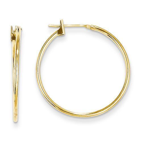 Madi K 14k Yellow Gold Polished /& Hollow 1mm Hinged Post Hoop Earrings