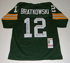 PACKERS-Zeke-Bratkowski-signed-green-12-STAT-jersey-JSA-AUTO-w-3-Inscriptions