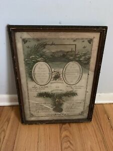 Marriage-Certificate-1800s-Stacked-Frame-Antique-New-Haven-Connecticut