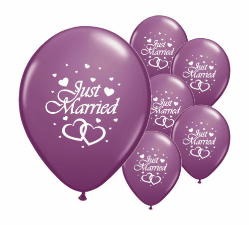 JUST MARRIED PARTY DECORATIONS BANNERS BALLOONS CONFETTI WEDDING DECORATIONS