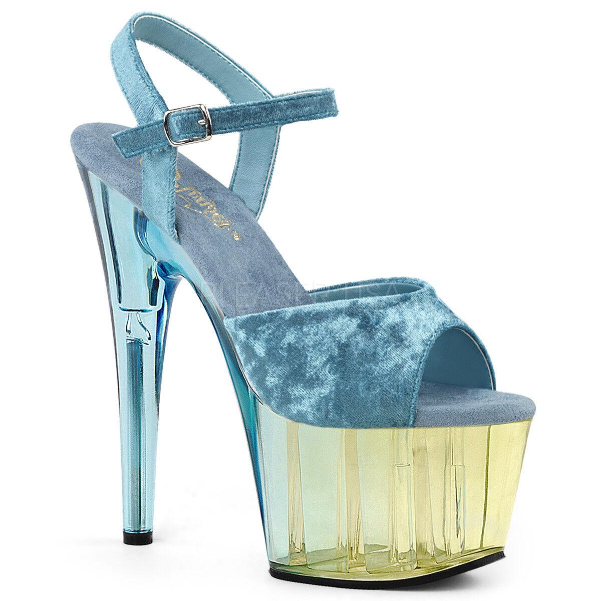 PLEASER Sexy 7  Heel bluee Dual Dual Dual Tinted Platform Velvet Ankle Strap Women shoes dc46e2