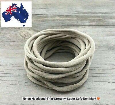 30pcs Nude Nylon Headband Thin-Super Soft-Stretchy-Non Dents AU Seller