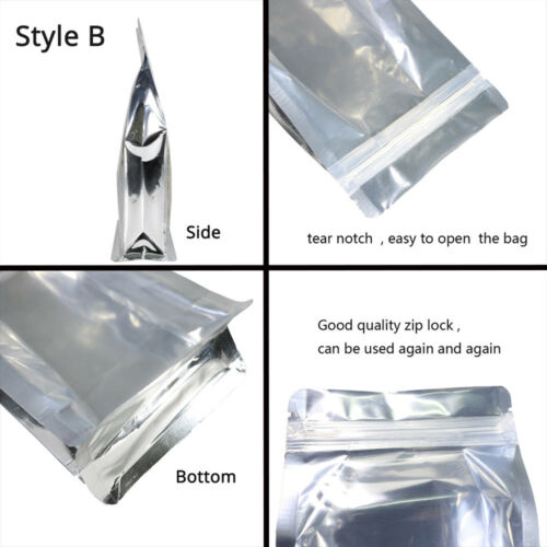 Glossy Clear /& Clear Front Silver Back Mylar Gusset Side Stand Up Zip Lock Bag S