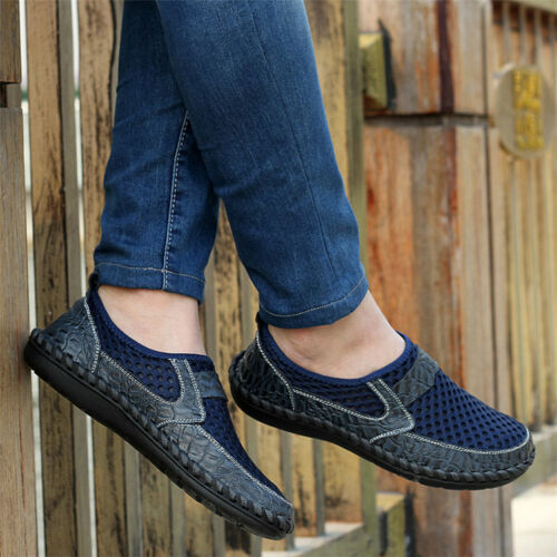 Men/'s Driving Slip on Loafers Leather Summer Shoes Breathable Mesh Casual Shoes