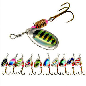 10PCS-Fishing-Lures-Metal-Spinner-Baits-Bass-Tackle-Crankbait-Trout-Spoon-Trout