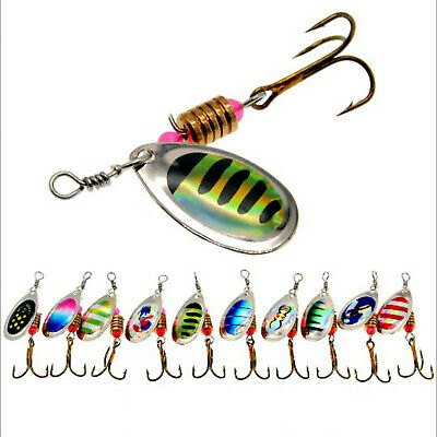 10Pcs Metal Fishing Lures Hard Spoon Spinner Baits Bass Tackle Crankbaits Hook