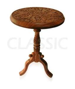 """Table 12x18"""" folding Side stool ✿ Teapoy Wood hand carved ✿ Wooden Handicrafts ~"""