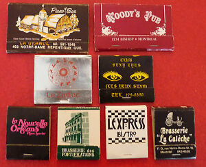 Rare-Vintage-Match-Book-Lot-of-8-French-Canadian-Bars-Pubs-Brasseries-Bistro