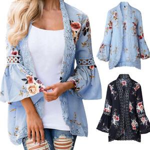 Plus-Size-Women-Lace-Floral-Chiffon-Casual-Blouse-kimono-Jacket-Cardigan-Tops-AU