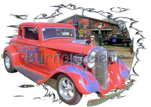1933 ROT Blown Plymouth Coupe Custom Hot Rod Garage T-Shirt 33 Muscle Car Tees