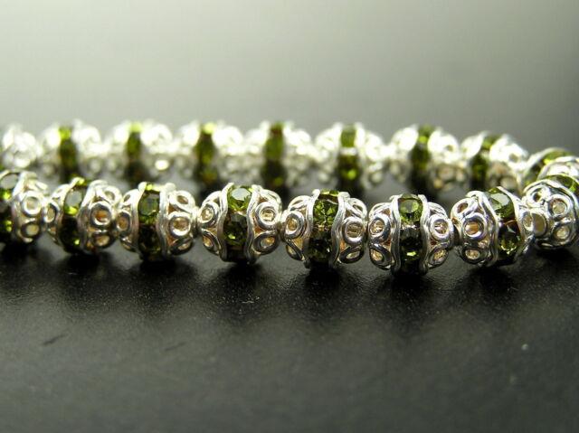 18 Preciosa Czech Rhinestone Filigree Bead Balls 6mm Olivine Silver Plated