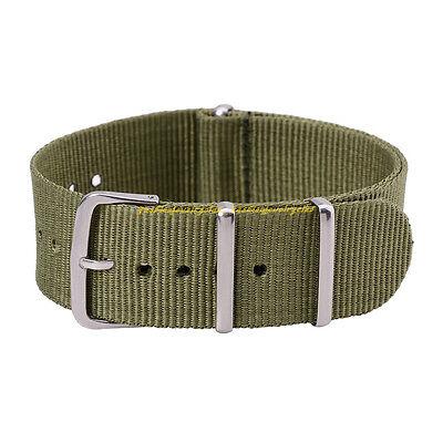 Hot Men Women Army Green Nylon Carbon Fiber Wrist Watch Band Belt Strap 18-20 mm