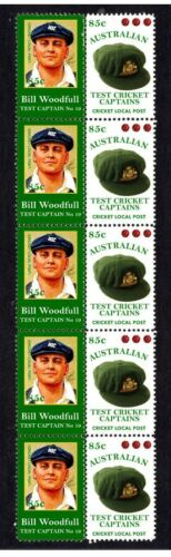 AUSTRALIAN TEST CRICKET CAPTAIN STRIP OF 10 MINT VIGNETTE STAMPS, WOODFULL 2