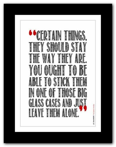 J.D. SALINGER The Catcher in the Rye ❤ typography book quote poster print #123