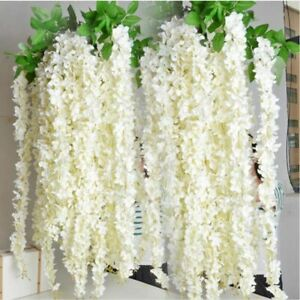 Artificial-Fake-Silk-Wisteria-Flower-Vine-Hanging-Garland-Wedding-Decor-10pcs