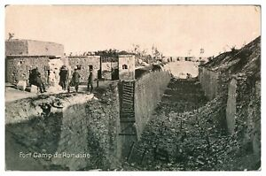 Antique-WW1-military-printed-postcard-Fort-Camp-de-Romaine-soldiers