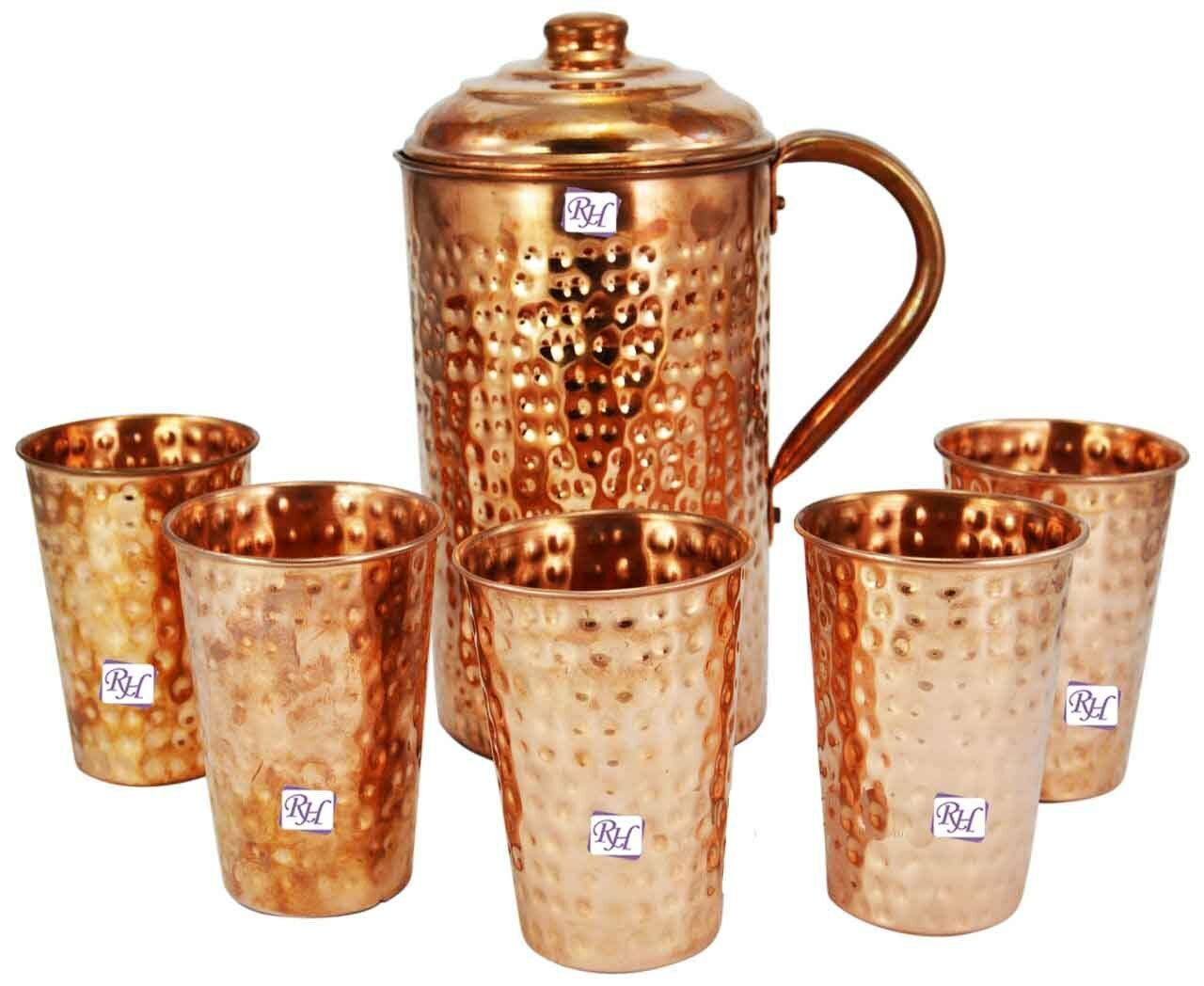 Copper water pitcher pichet & 5pcs Cuivre Verre from Indian Ayurveda