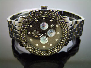 New-Techno-amp-co-5-00CT-Large-Diamonds-50mm-Stainless-steel-Watch-black-case