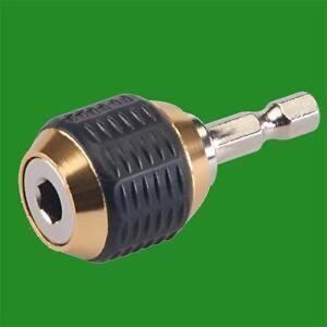 1x-Quick-Chuck-amp-Grip-Drill-Screwdriver-Bit-Holder-Adaptor-1-4-Inch-Hex-Shank