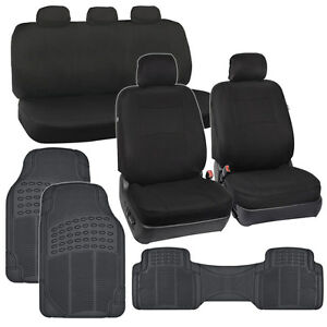Black Car Seat Covers Floor Mats Polyester Cloth All Weather Hd Rubber Ebay