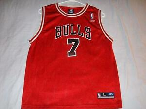 free shipping f8388 56a9b Details about Ben Gordon 7 Chicago Bulls NBA Reebok Red Screen Print Jersey  Boys Large 14-16